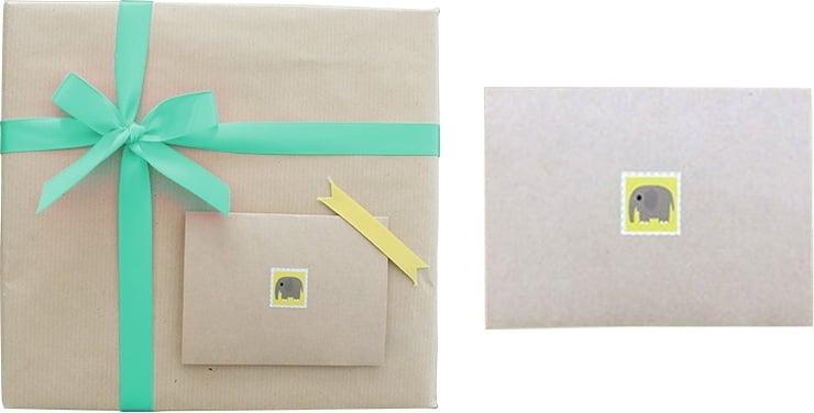包装紙+ブルー系リボン(メッセージカード付き)