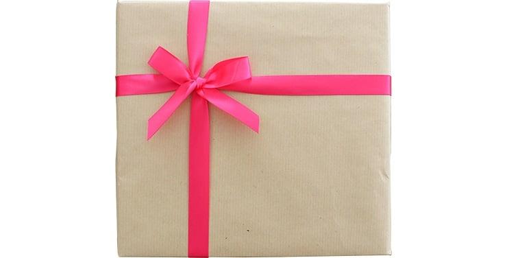 包装紙+ピンク系リボン
