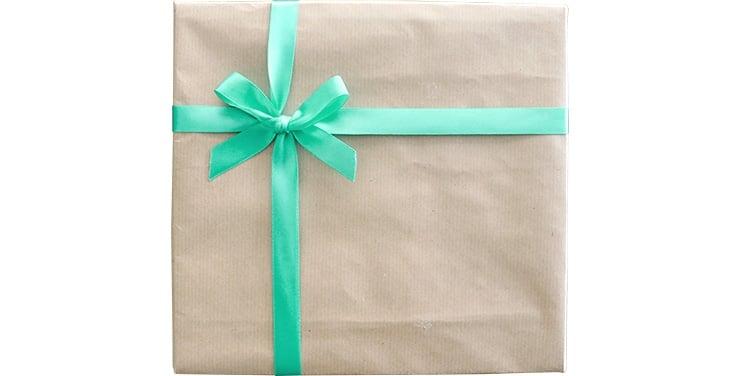包装紙+ブルー系リボン